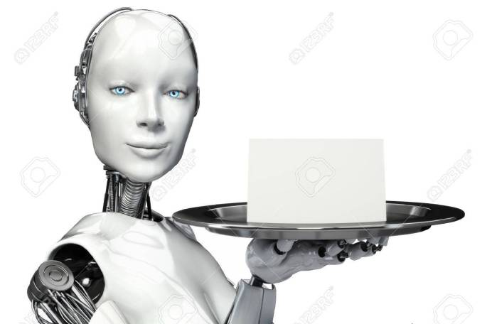28029856-female-robot-holding-a-serving-tray-with-a-blank-card-advertisement-with-room-for-text-or-copy-space